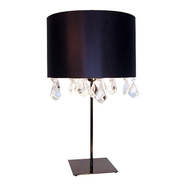 Lampe de salon de textile satin noir avec pampilles de for Grande lampe de salon