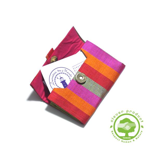 Porte Carte De Visite En Soie Fine Multicolor