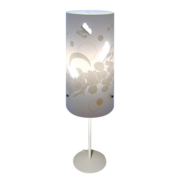 Lampe à pied Fleur Papillon blanc | Lumières du Monde - Paris