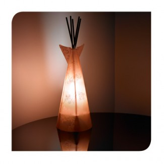 Lampe Tipi Ibiscus Orange et Bordeaux de 50 cm